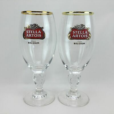 2 Stella Artois Chalice Beer Glasses Belgium Six Hundred Years Brewing 40CL