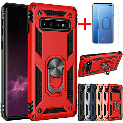 For Samsung Galaxy S10e S10/S10 Plus Armor Ring Holder TPU Case+Screen Protector