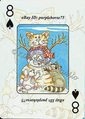 Mini art PRINTs Loberg Snow Cat Sea Horse 2008 2009 2011 ACEO Playing Card Decks