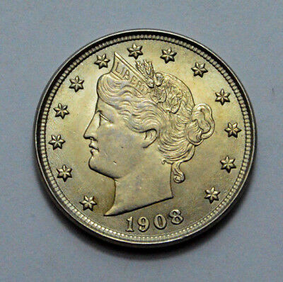 """1908 UNC MS LIBERTY HEAD """"V"""" NICKEL US Coin OLD, Better Date 5c , Nat.Toning !"""