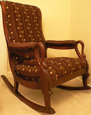 Vintage Gooseneck rocking chair dark burgundy fabric