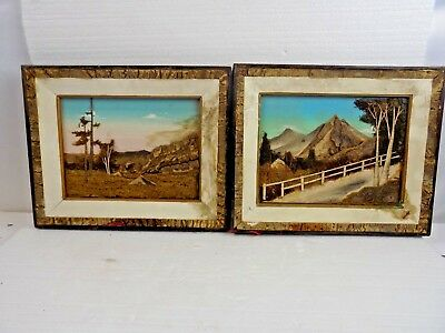 Folk Art - Pair Of Hand Made Scene's Made Of Tree Bark & More