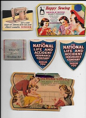 Lot Of 6 Vintage Sewing Needles Packs - Singer, Pony, National Life Insurance