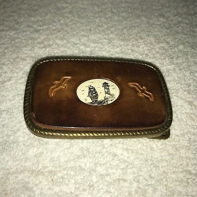 Stone Ship & Lighthouse Solid Brass & Tooled Leather Belt Buckle Vintage