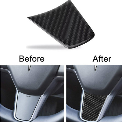 Practical Glossy Steering Wheel Trim Cover Sticker for Tesla Model 3 2017-2018