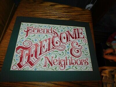 Welcome Friends & Neighbors Cross Stitch Sampler Panel COMPETED Handmade