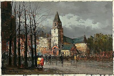 ALDO RANDO Signed Vintage MidCentury 1960s Italian Painting PARIS ST & CATHEDRAL