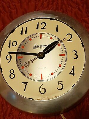 VTG GREAT Sessions electric kitchen wall clock works! used bedroom office