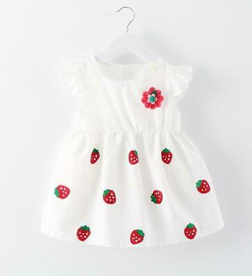 new Newborn Baby Girl Toddler Strawberry Flower White Dress Summer Cute Clothing