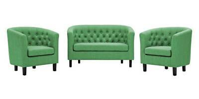 3-Pc Upholstered Fabric Living Room Set in Green [ID 3795727]
