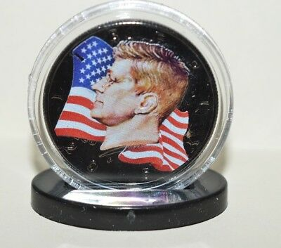 John F Kennedy Half Dollar-Rhodium Plated and Colorized w/ Stand Up Base