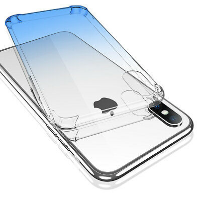 Gradient Clear Shockproof Soft TPU Case Cover For iPhone 8 7 Plus X Airbag Edge