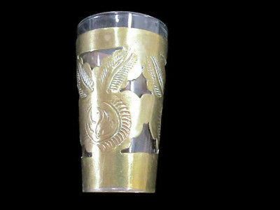 Mexican Themed Brass Slip On Standard Shot Glass Collectible Barware - Nice!