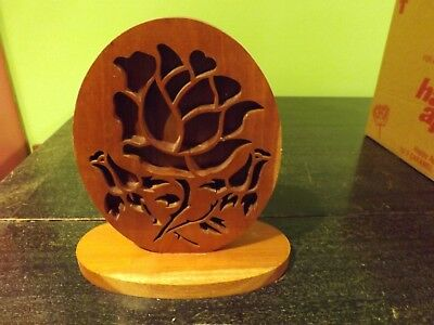 """Vintage  Abstract Rose Carving Sculpture Made From Red Oak From In Missouri 10+"""""""