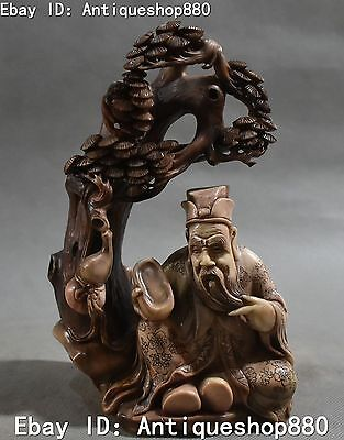 Natural Shoushan Stone Painting Carving Pine Tree Ancient Old Man People Statue