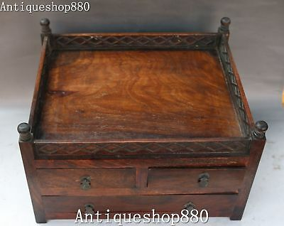 """13"""" China Huanghuali Wood Hand Carving Drawer Storage Jewelry Box Casket Statue"""