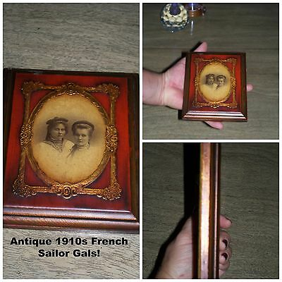 Antique Collectible Inlaid Precious Metal French Sailor Gals Photo Frame