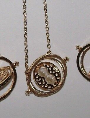 USAHarry Potter Time Turner Necklac Hermione Granger Rotating Spin Gold HourGlas