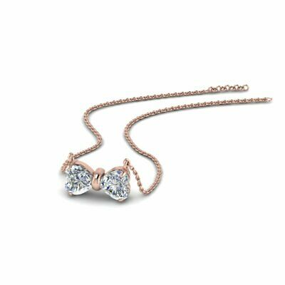 .60 Ct Bow Style 2 Stone Heart Shape Women's Diamond Necklace In 14K Pink Gold