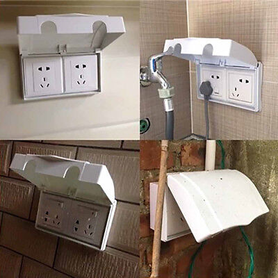 Electric White Double Socket Protector Plug Cover Baby Child Safety Box #AM8