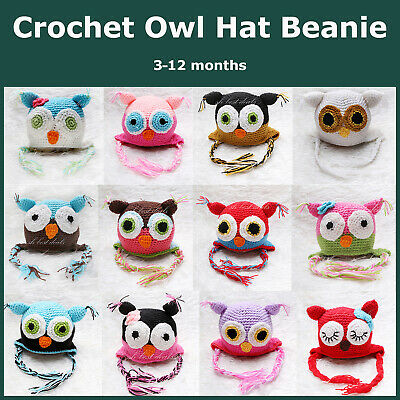 Crochet Baby Two-Tone Owl Hat Knit Beanie Cap Infant Boys Girls 3-12 Months