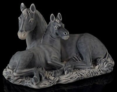 Mare Horse with Foal Marble Stone Figurine Sculpture Russian Art Animal Statue
