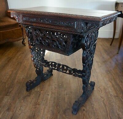 Antique Crisply Hand Carved Chinese Burmese Writing Table Desk circa late 1800