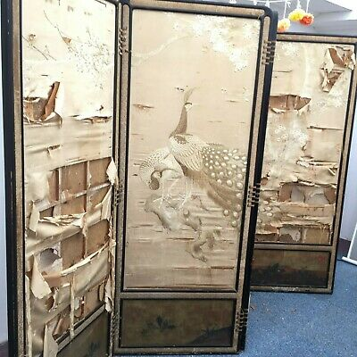 Japanese Four Fold Room Divider Screen Embroidered Fabric Lacquered Frame 175 cm
