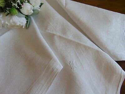 ANTIQUE FRENCH LINEN DAMASK MI OR WI NOBLE MONOGRAM IMMACULATE TABLECLOTH 99x103