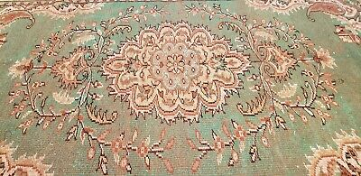 Primitive Antique Cr1930-1939s Wool Pile Old Olive Green Dye Isparta Oushak  Rug