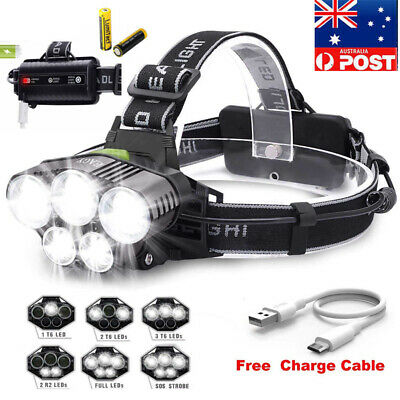 90000Lm 5X Xm-L T6 Led Headlamp Head Light Head Torch Flashlight Camping Lamp