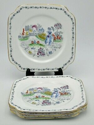 """x4 Vintage Bone China Tea Plates Crinoline Lady With Parasol In Garden 6"""" Approx"""