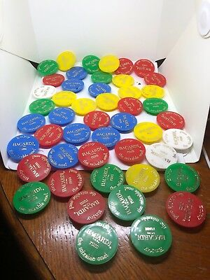 Lot Of 48 Plastic Bacardi Rum Caps/tops - Red, Blue, Yellow, Green & White