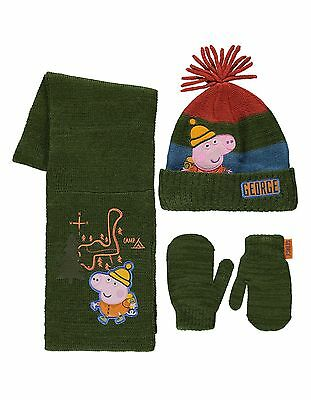 Peppa Pig:george Winter Set,Mitts/Hat/Scarf,1-3,4-6Yr Approx,Nwt