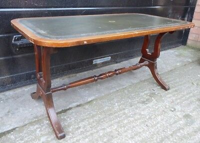 Bevan Funnell Reprodux Leather Top Regency Style Mahogany Coffee Table (b)