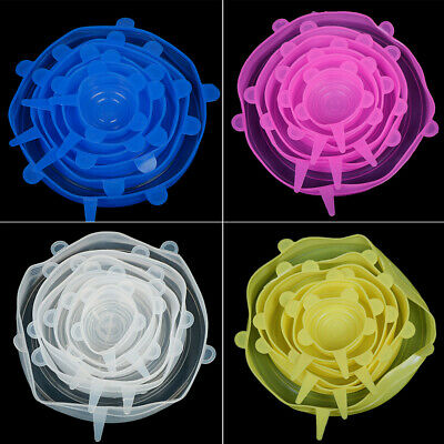 6x Silicone Stretch Preserve Pot Bowl Lid for Fridge Oven Food Container CoverZB