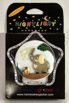 2 Battery Operated Child's LED Night Lights c/w Handcarved Wooden Elephant Motif