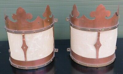 Pair of Copper Wall-Mounted Lights in the Antique Style - Need Renovation