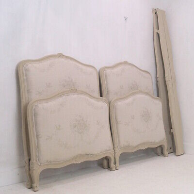 Rare Pair of French Antique Louis XV Single Beds in KATE FORMAN 'Grey Sophia'