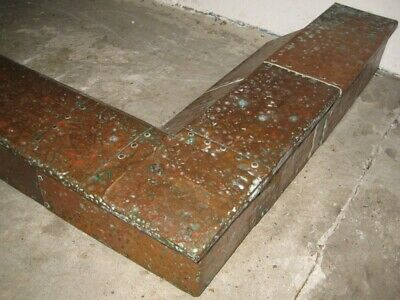 Antique Arts Crafts Newlyn style riveted hammered copper fire curb guard fender