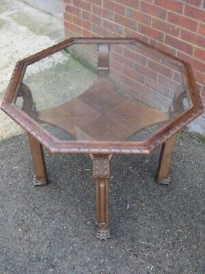 Art Deco antique solid carved oak octagonal glass top baroque style centre table