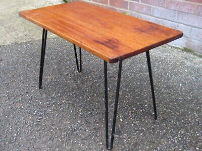 1950s vintage atomic style solid teak iron hairpin base occasional coffee table