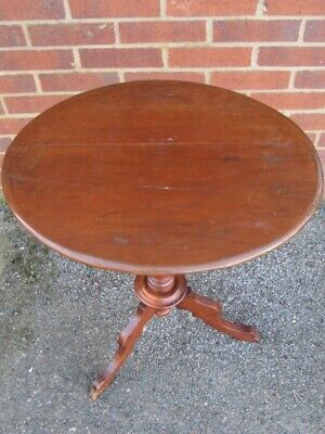 Victorian antique solid mahogany oval pedestal tripod side lamp occasional table
