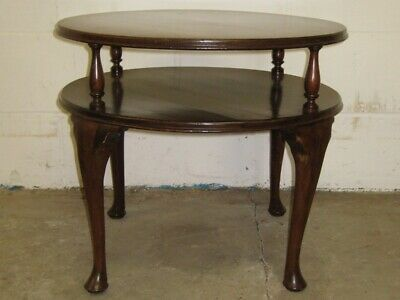 Geometric figured mahogany Art Deco antique round 2 tier occasional side table