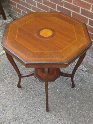 Edwardian antique mahogany & inlaid octagonal side lamp occasional centre table