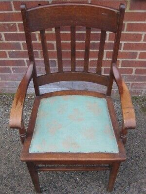 Victorian antique Arts Crafts solid slatted oak library desk elbow office chair