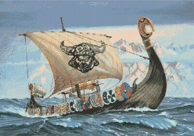 N.C Wyeth Viking Ship Queen Astrid Counted Cross Stitch Chart Pattern