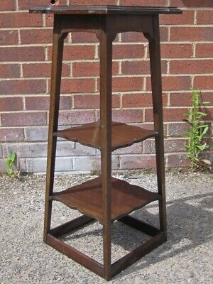 Art Nouveau antique solid mahogany 3 tier tapering jardiniere plant stand table