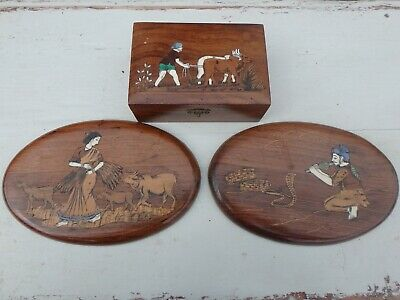 Pair antique Indian rosewood bone inlaid oval wall plaques matching trinket box