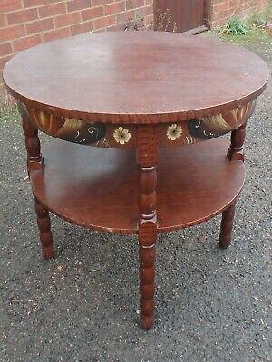 Antique Scandinavian folk art painted solid pine circular 2tier occasional table